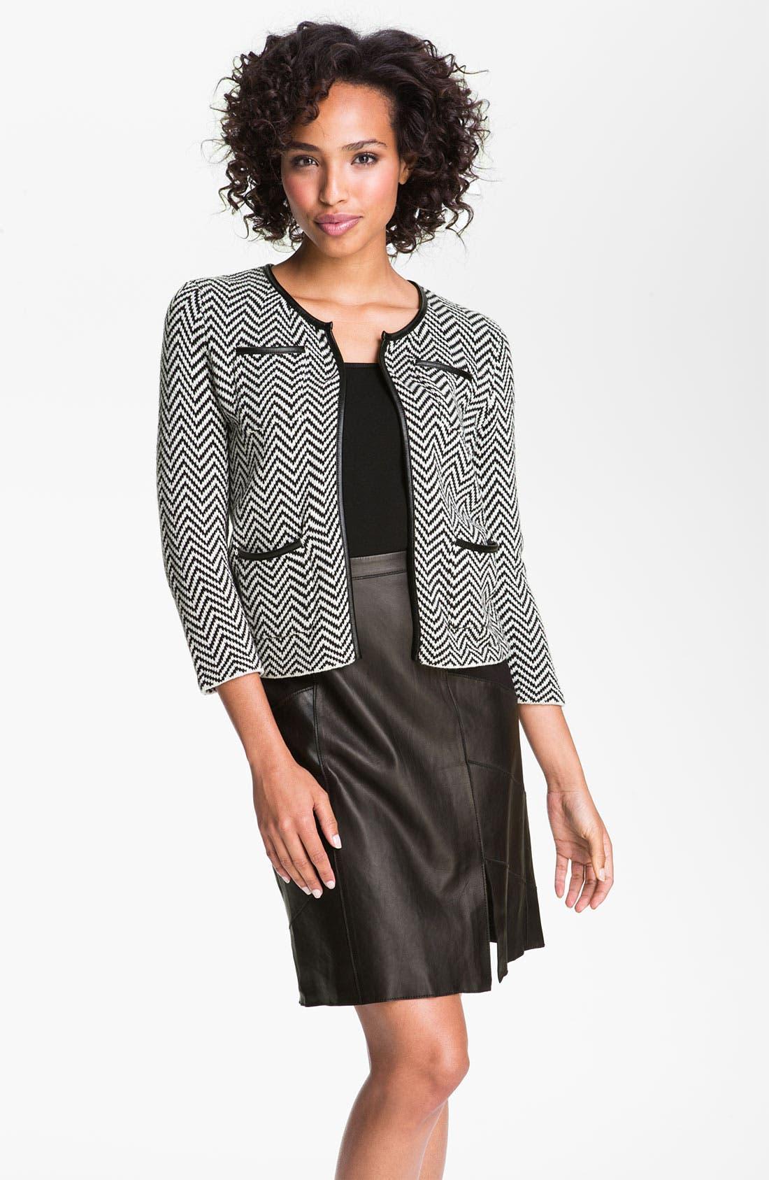 Main Image - Halogen® Faux Leather Trim Herringbone Sweater Jacket