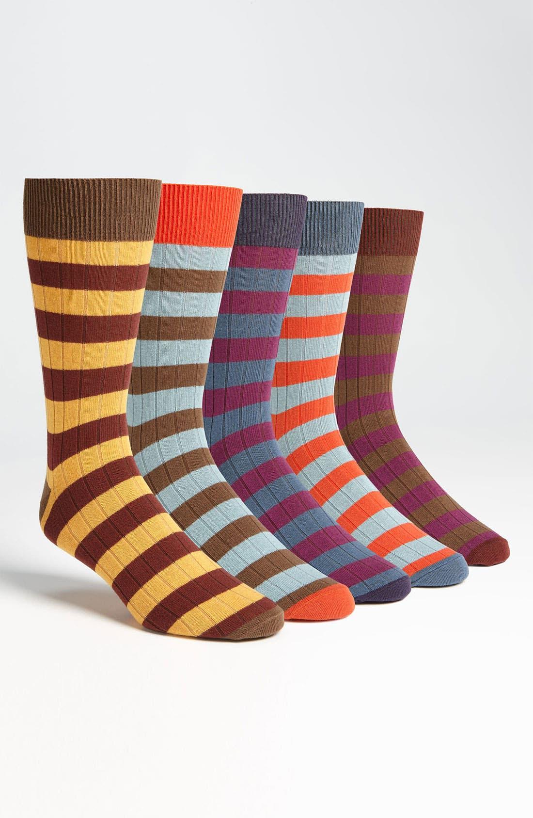 Alternate Image 1 Selected - Topman Stripe Pattern Socks (5-Pack)