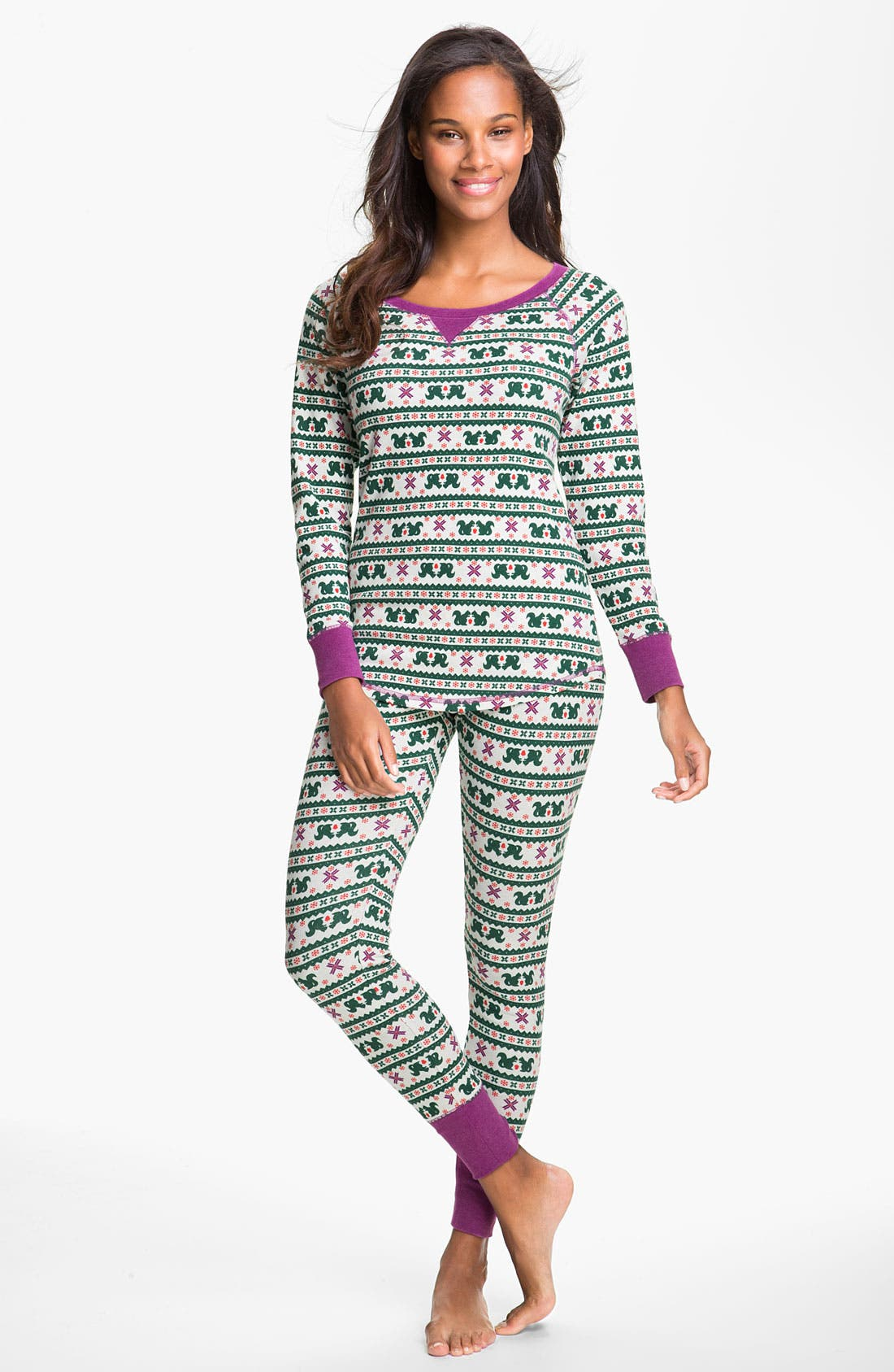 Alternate Image 1 Selected - Make + Model Pattern Thermal Pajamas