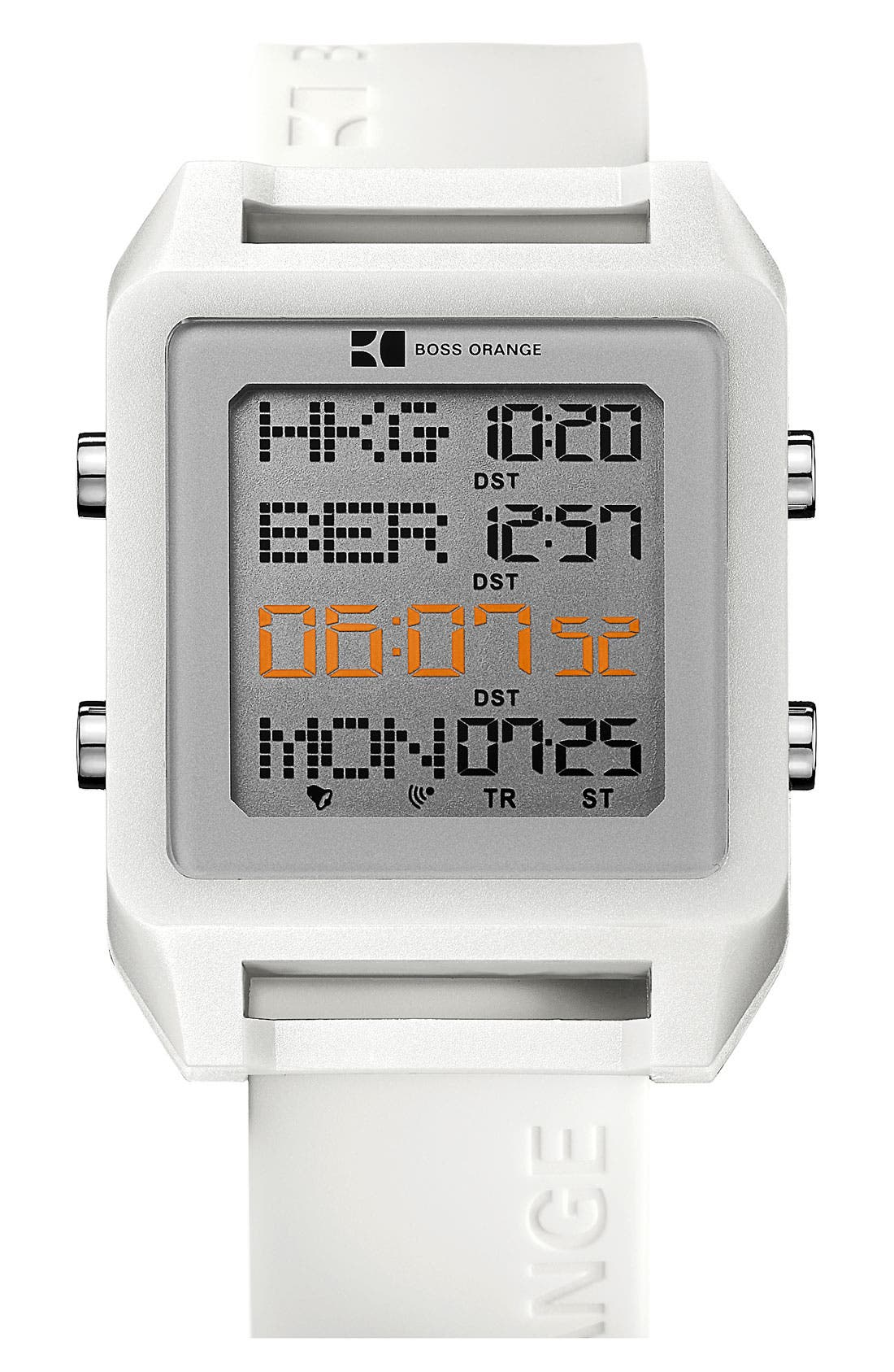 Main Image - BOSS Orange Square Digital Silicone Strap Watch, 40mm x 54mm