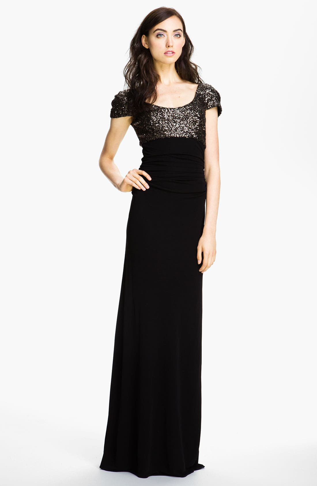 Alternate Image 1 Selected - Badgley Mischka Puff Sleeve Sequin & Mesh Gown