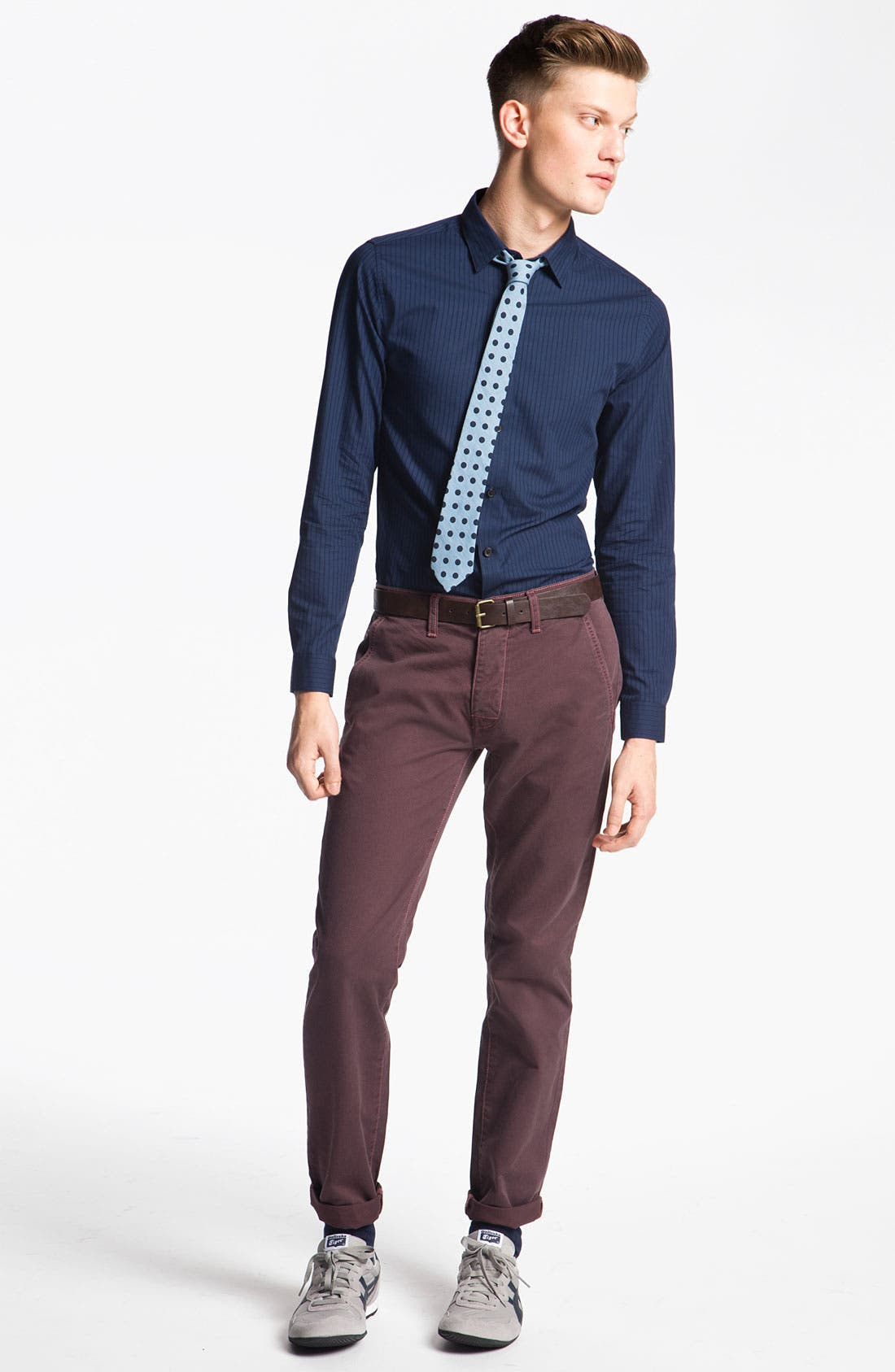 Alternate Image 4  - Topman Dot Chambray Woven Tie