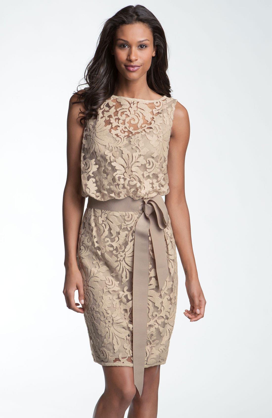 Main Image - Tadashi Shoji Lace Overlay Ribbon Dress