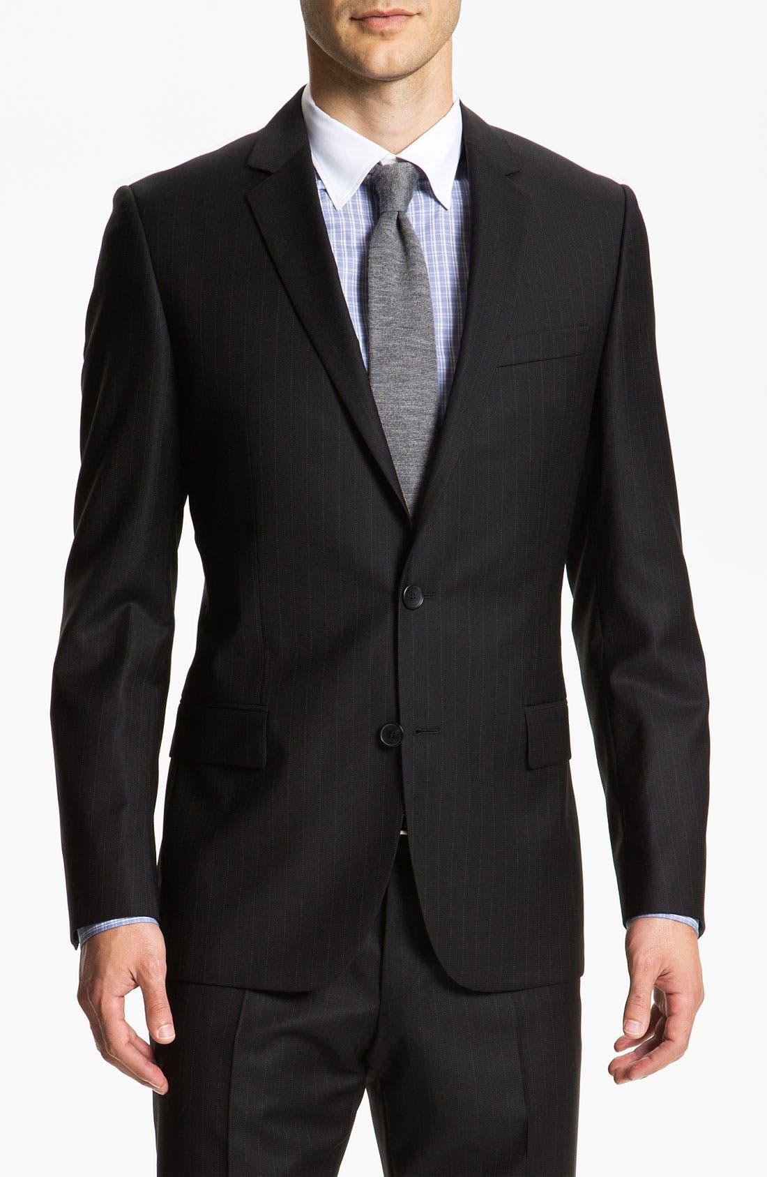 Alternate Image 1 Selected - HUGO 'Amaro/Heise' Trim Fit Stripe Suit