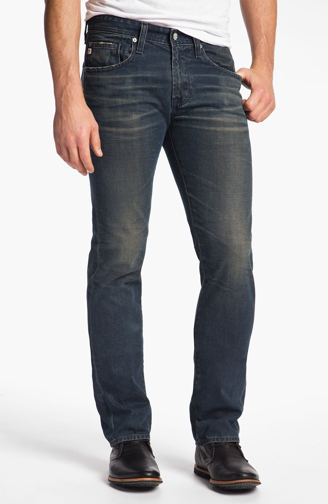 Alternate Image 1 Selected - AG Jeans 'Matchbox' Slim Straight Leg Jeans (7 Year Coated Navy)