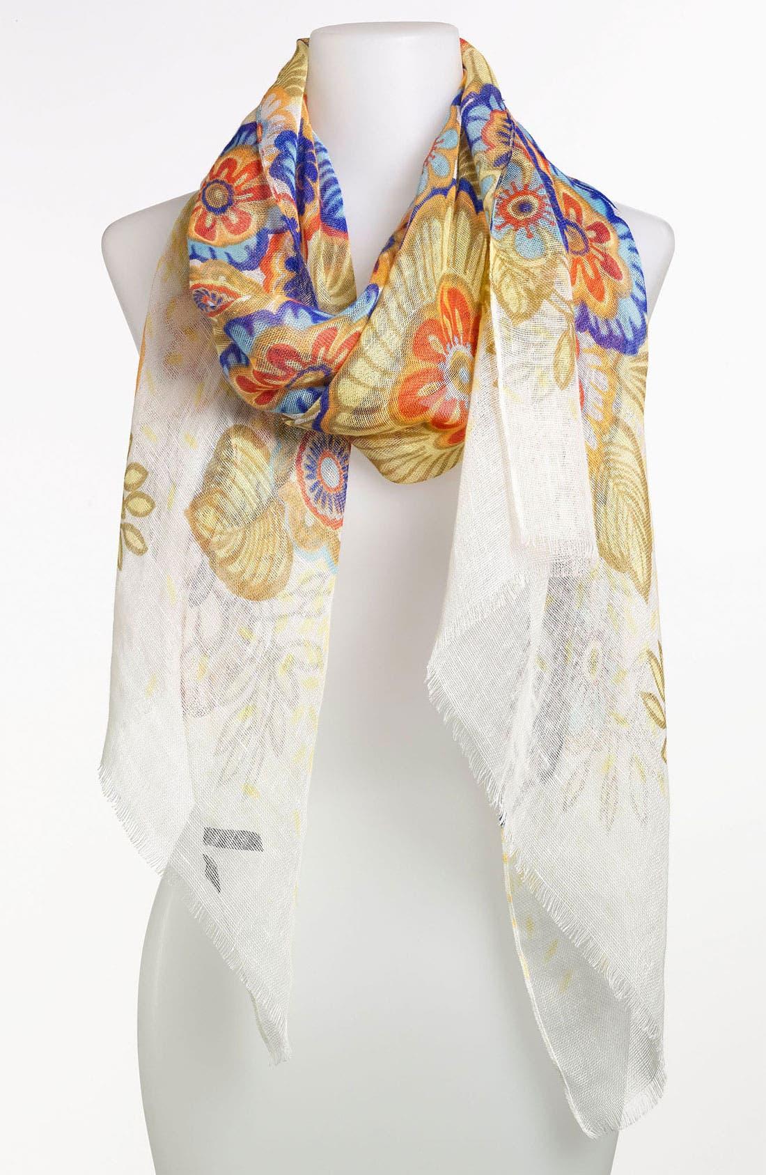 Main Image - Tarnish Floral Linen Scarf