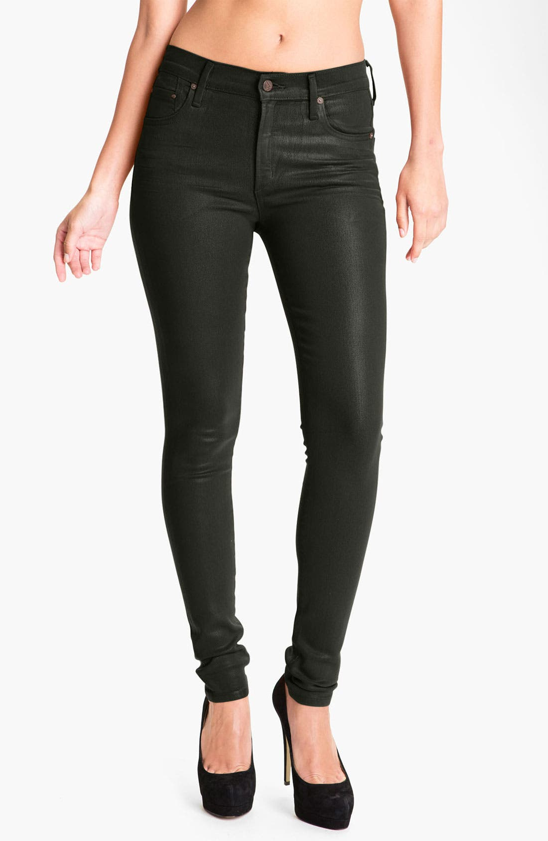 Alternate Image 1 Selected - Citizens of Humanity 'Rocket' Skinny Leatherette Jeans (Dark Ivy)