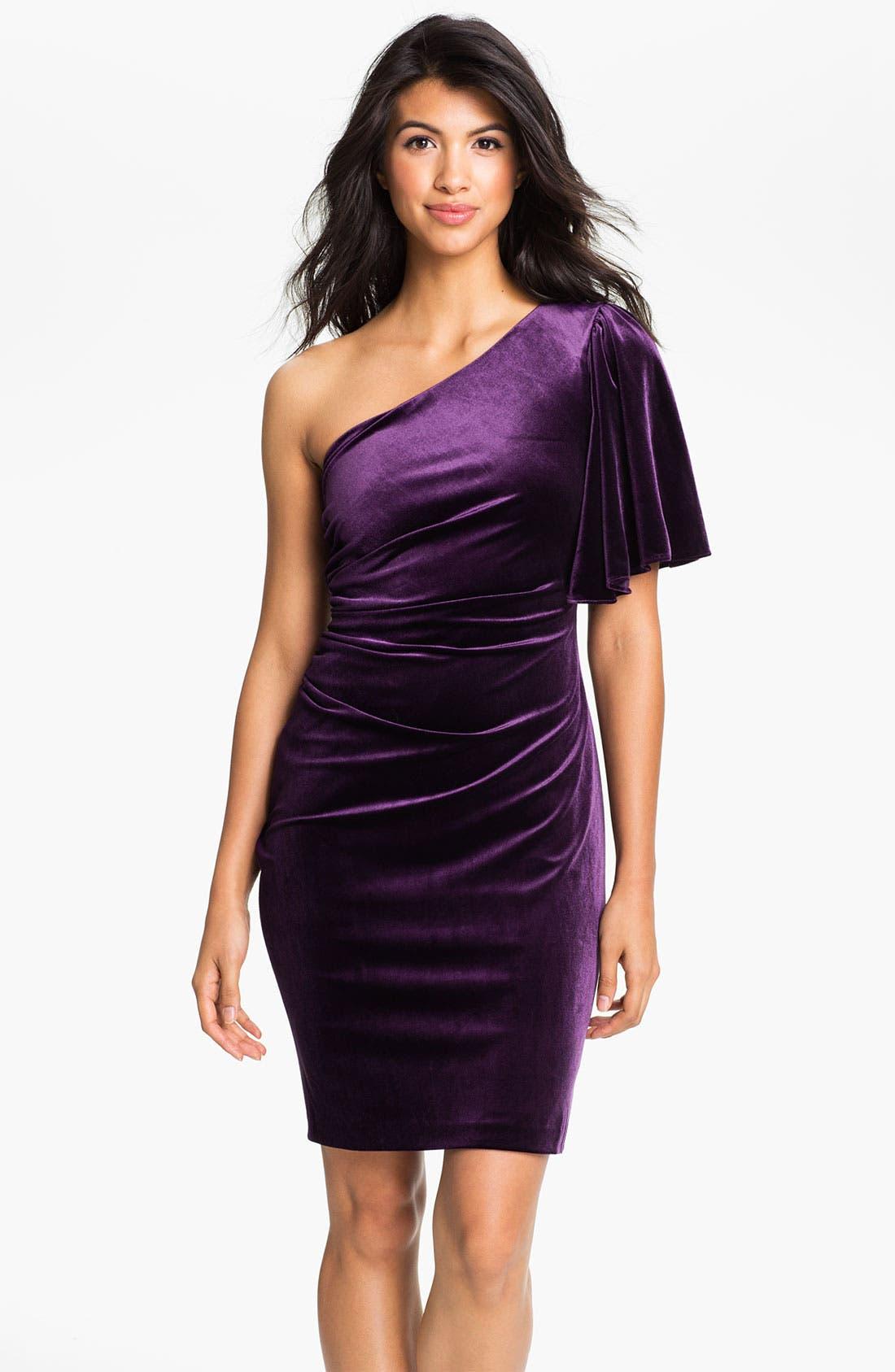Alternate Image 1 Selected - Calvin Klein One Shoulder Draped Sleeve Velvet Dress