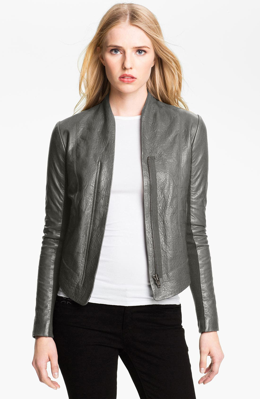 Alternate Image 1 Selected - Veda 'Boss' Crop Leather Jacket