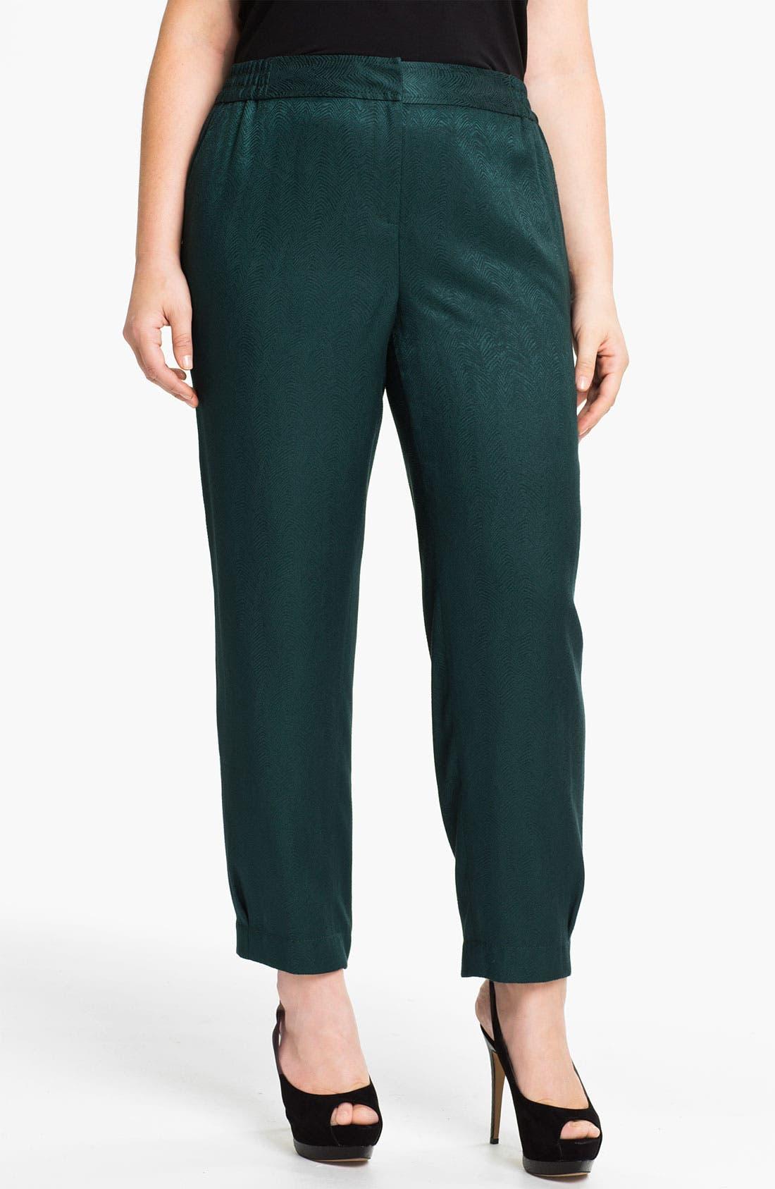 Alternate Image 1 Selected - Sejour Slim Jacquard Pants (Plus)