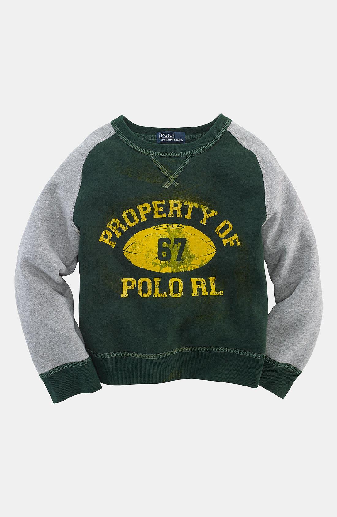 Main Image - Ralph Lauren Retro Crewneck Sweatshirt (Toddler)