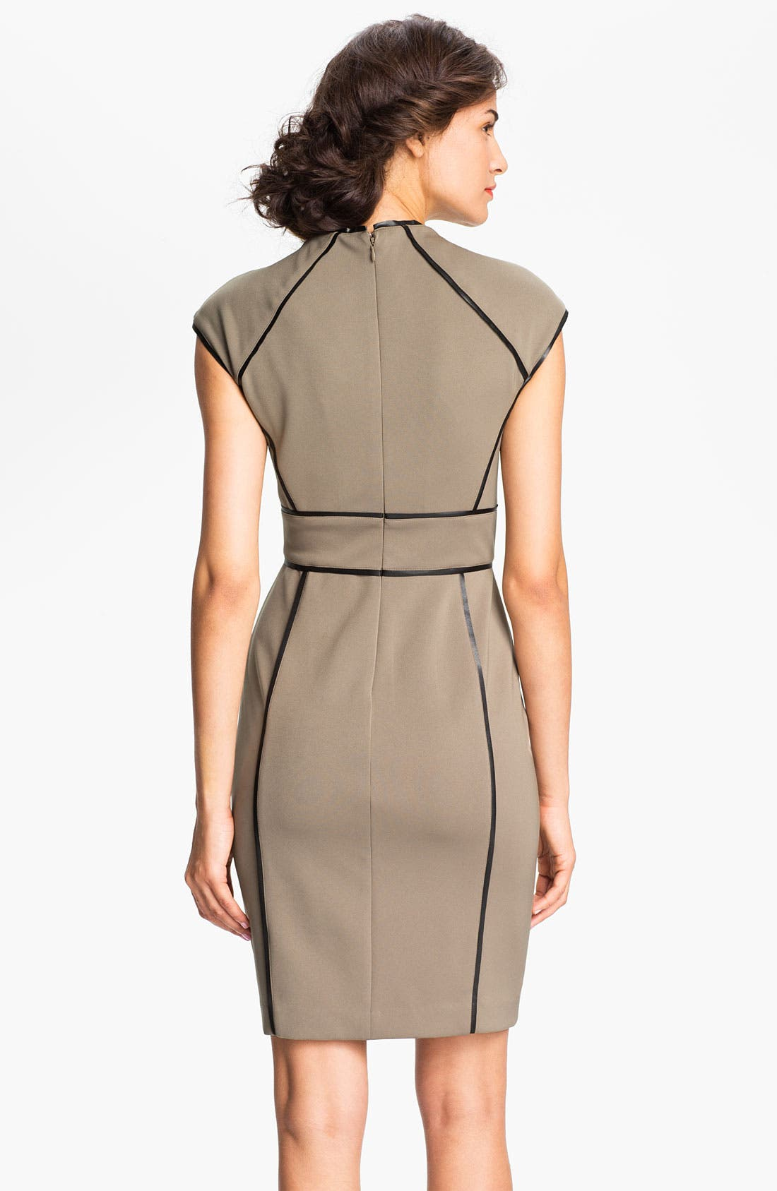 Alternate Image 2  - Maggy London Faux Leather Trim Sheath Dress
