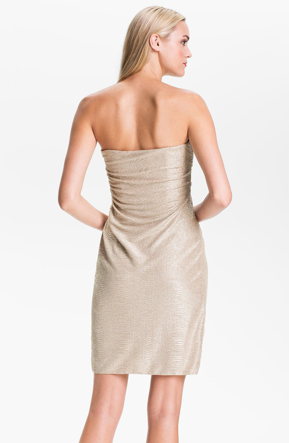 Alternate Image 2  - Hailey by Adrianna Papell Strapless Metallic Sarong Dress