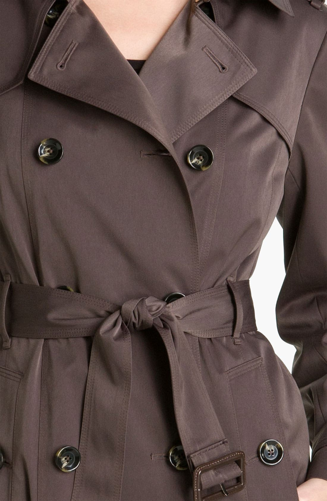 Alternate Image 3  - London Fog Double Breasted Rain Trench Coat (Petite) (Online Exclusive)