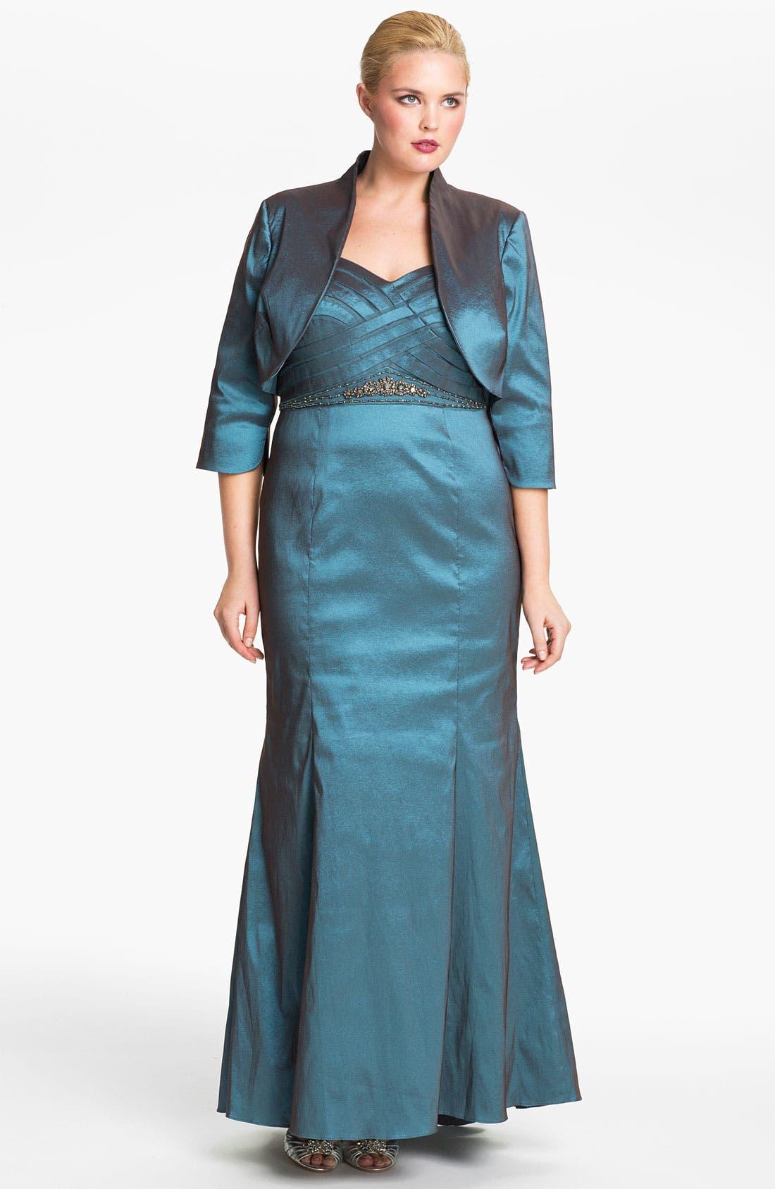 Alternate Image 1 Selected - Adrianna Papell Taffeta Mermaid Gown & Bolero (Plus)
