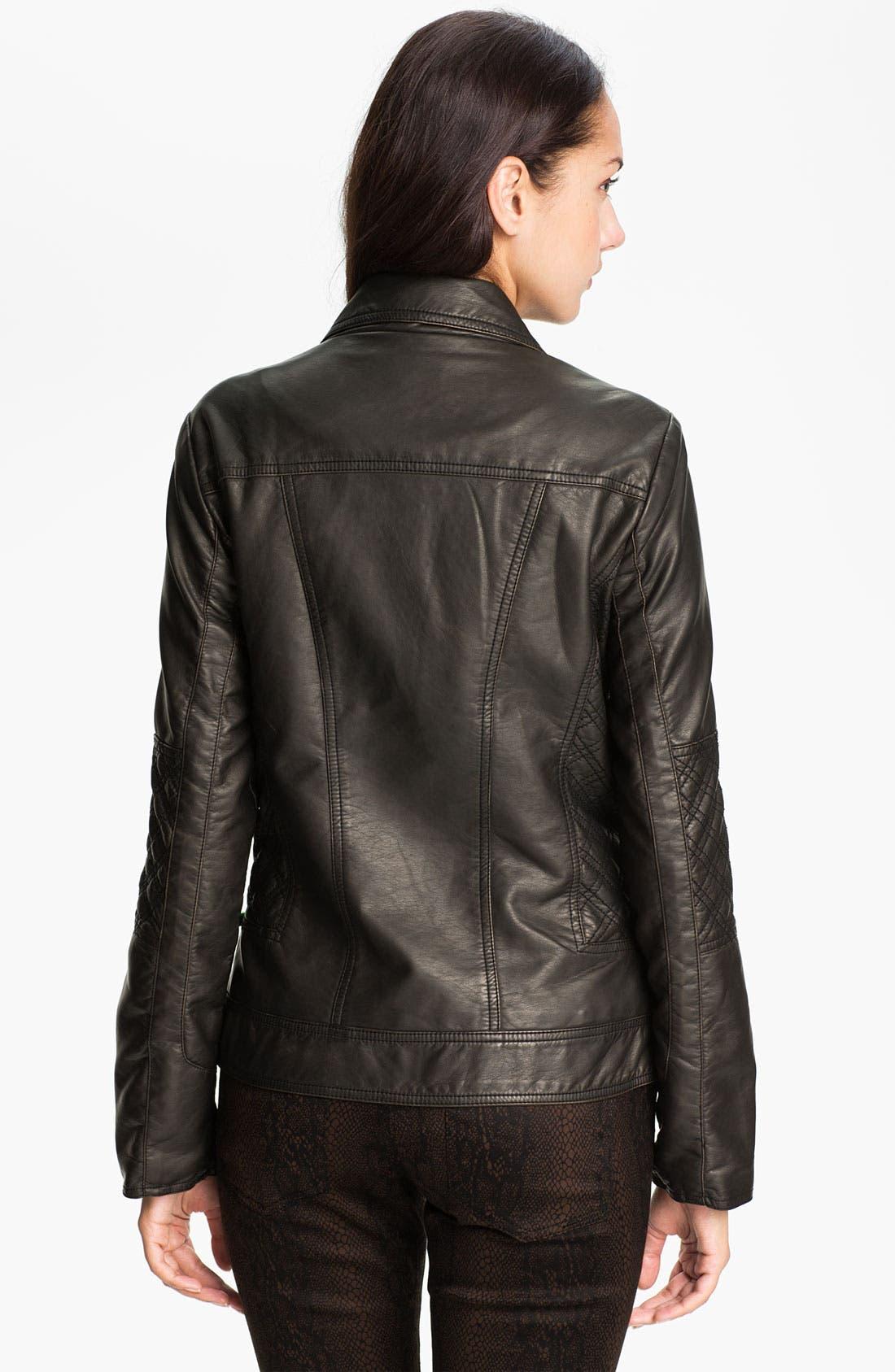 Alternate Image 2  - Conrad C Collection Quilt Trim Faux Leather Jacket
