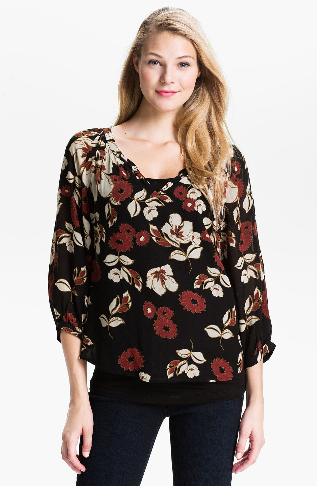 Alternate Image 1 Selected - Lucky Brand 'The Traveler' Print Blouse