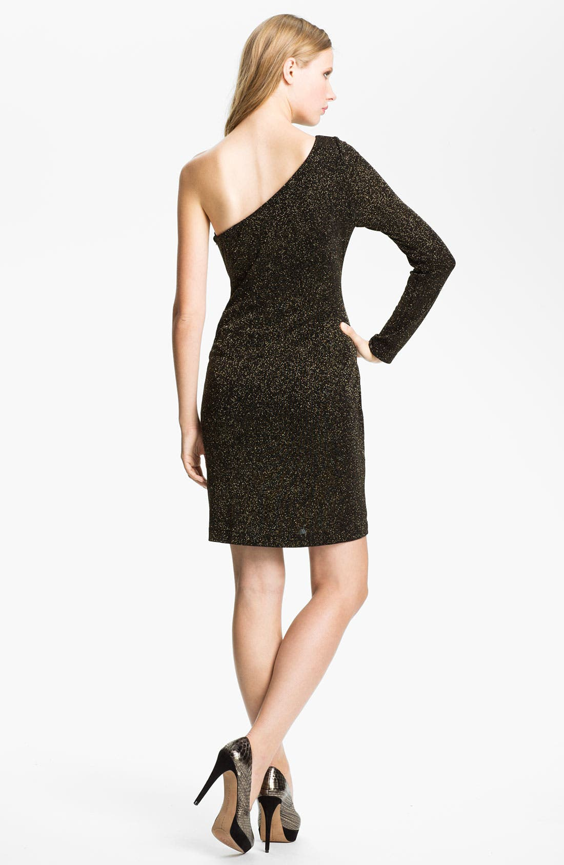 Alternate Image 2  - Adrianna Papell One Sleeve Glitter Jersey Sheath Dress