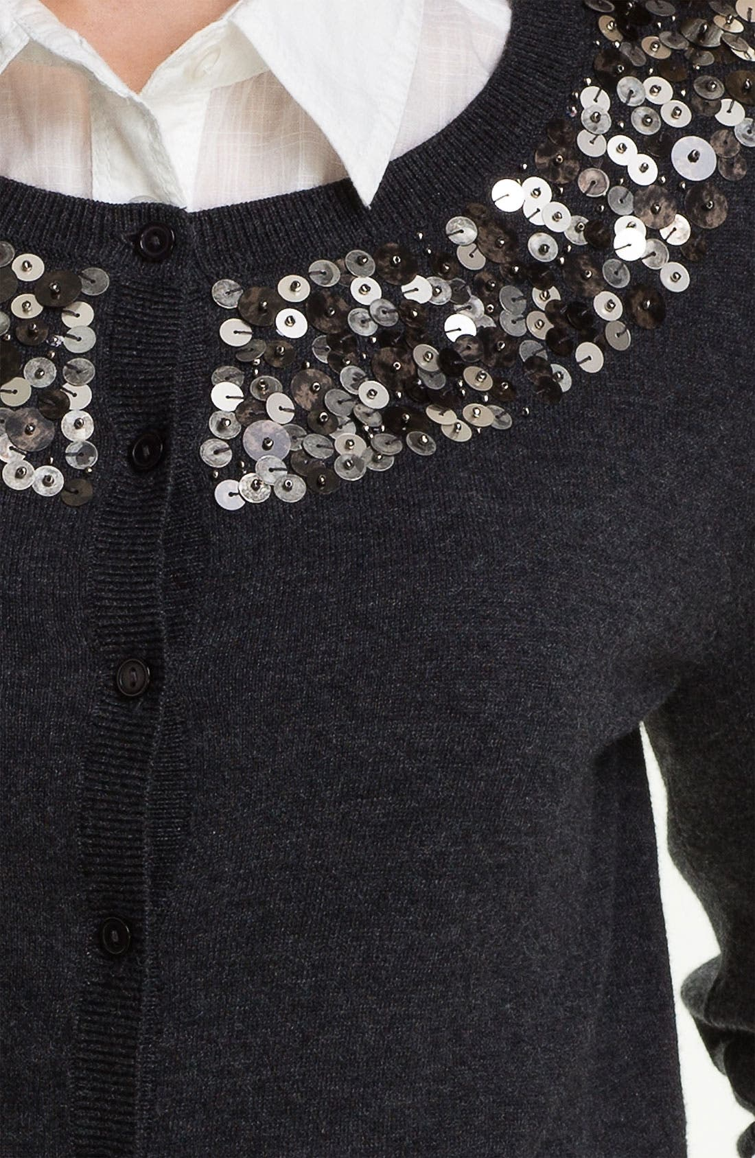 Alternate Image 3  - Halogen® Sequin Yoke Cardigan