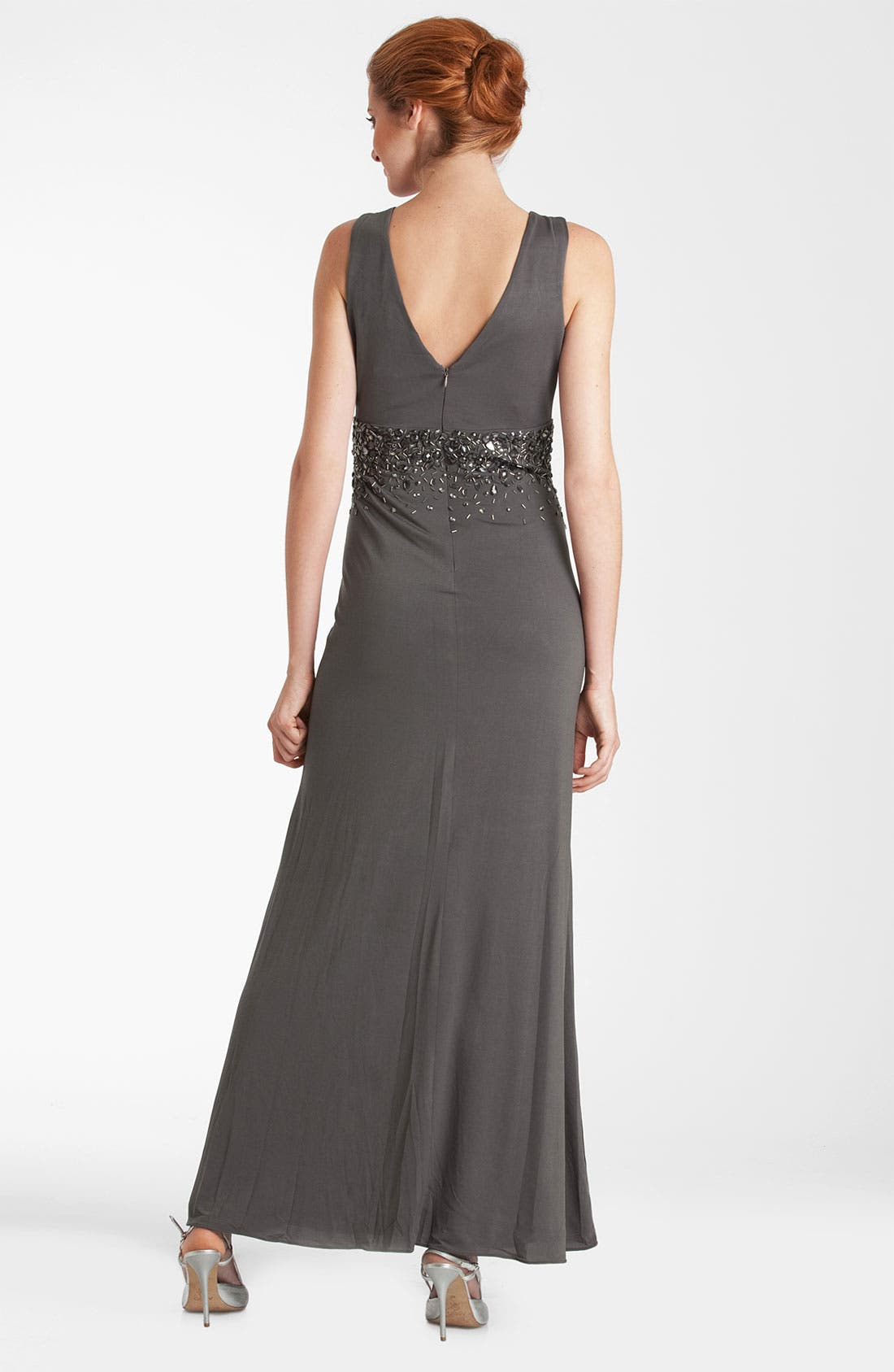 Alternate Image 2  - JS Boutique Double-V Embellished Jersey Gown