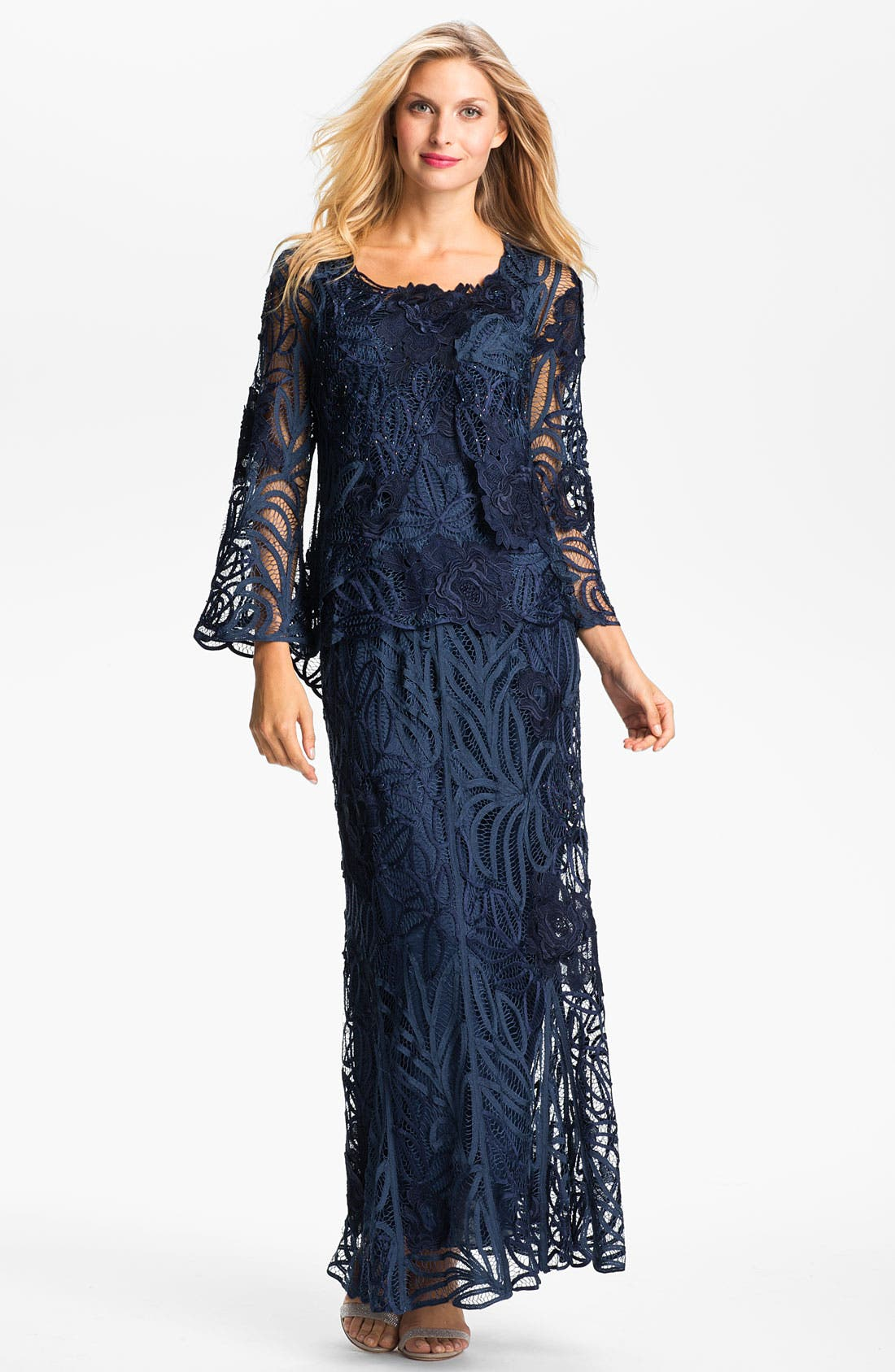Alternate Image 1 Selected - Soulmates Three Piece Embroidered Jacket & Skirt Set