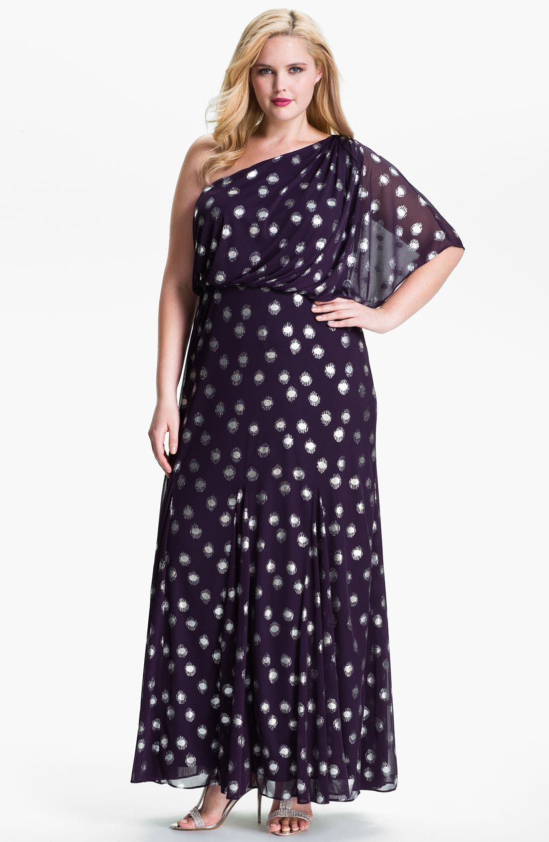 Main Image - Adrianna Papell Foil Dot One Shoulder Chiffon Dress (Plus)