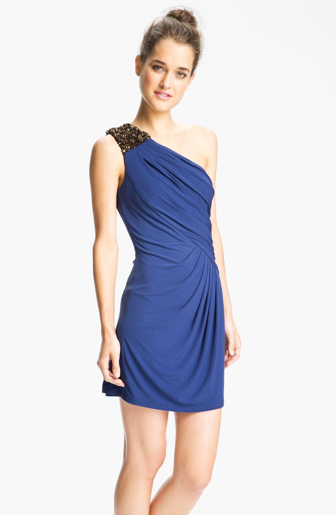 Main Image - Max & Cleo 'Helen' Embellished One Shoulder Dress