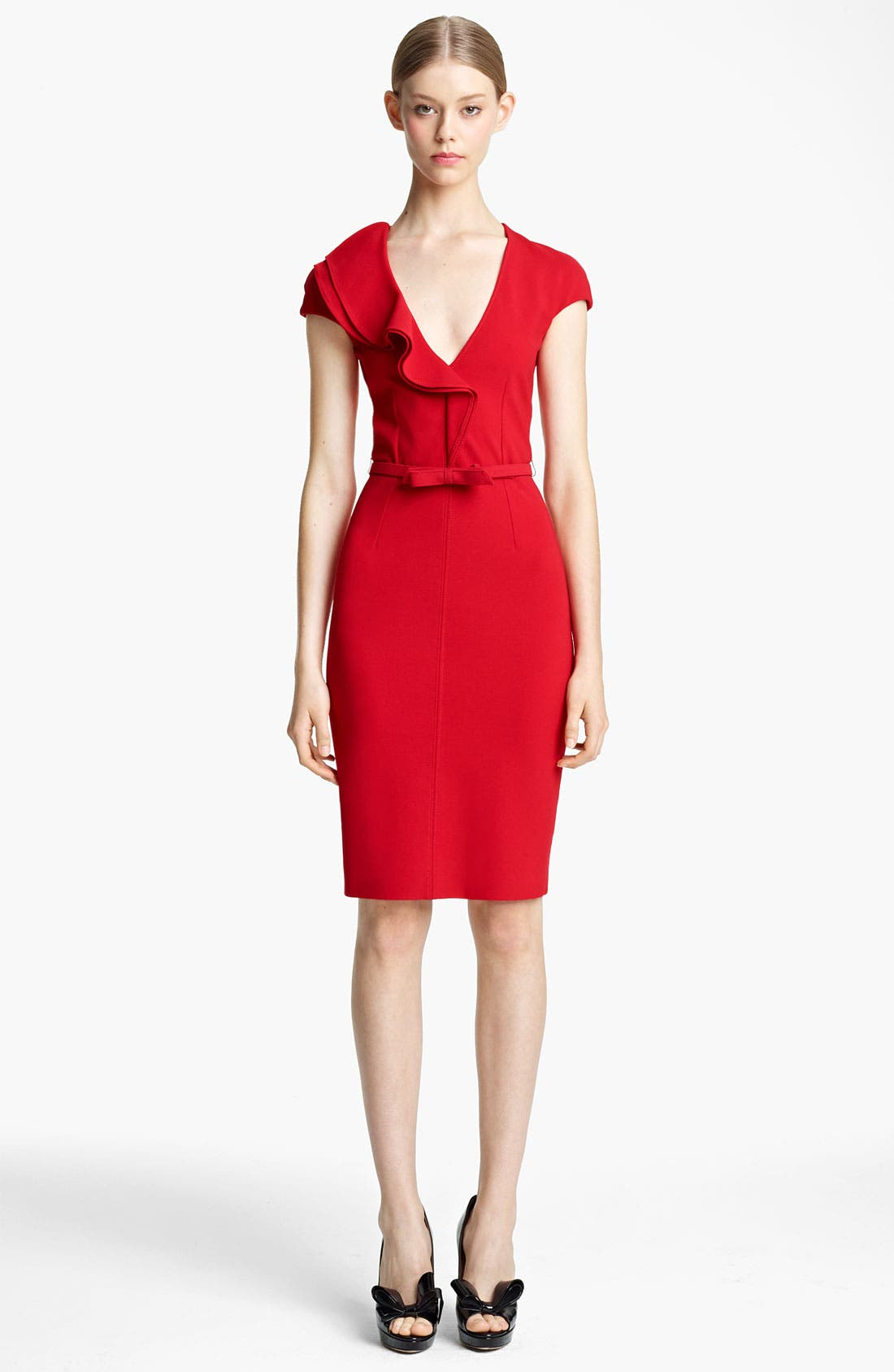 Main Image - Valentino Compact Jersey Sheath Dress with Bow Belt