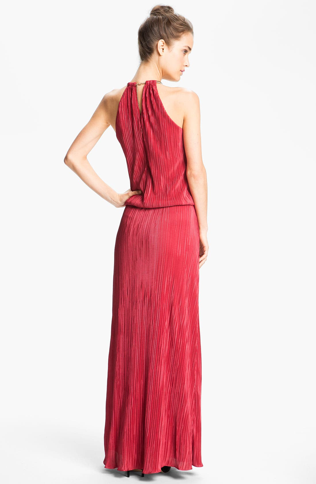 Alternate Image 2  - Laundry by Shelli Segal Ring Neck Satin Blouson Gown