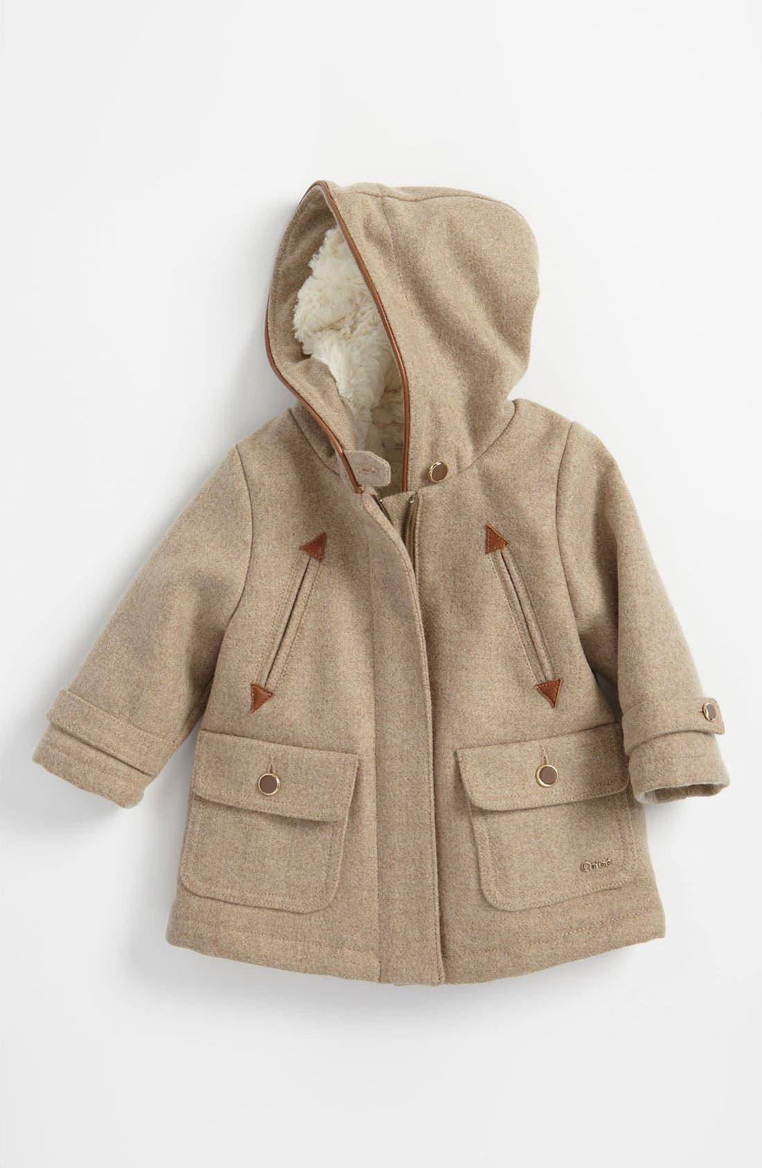 Main Image - Chloé Wool Blend Hooded Coat (Toddler)