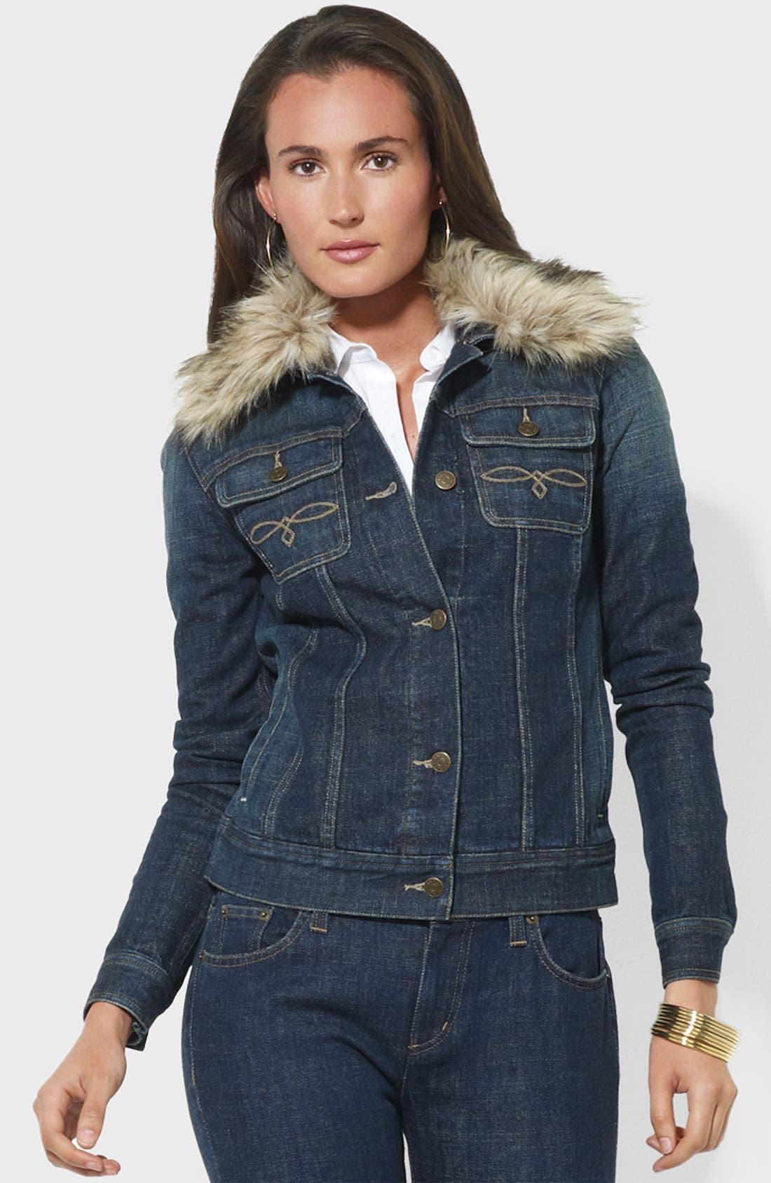 Main Image - Lauren Ralph Lauren Faux Fur Trim Denim Jacket
