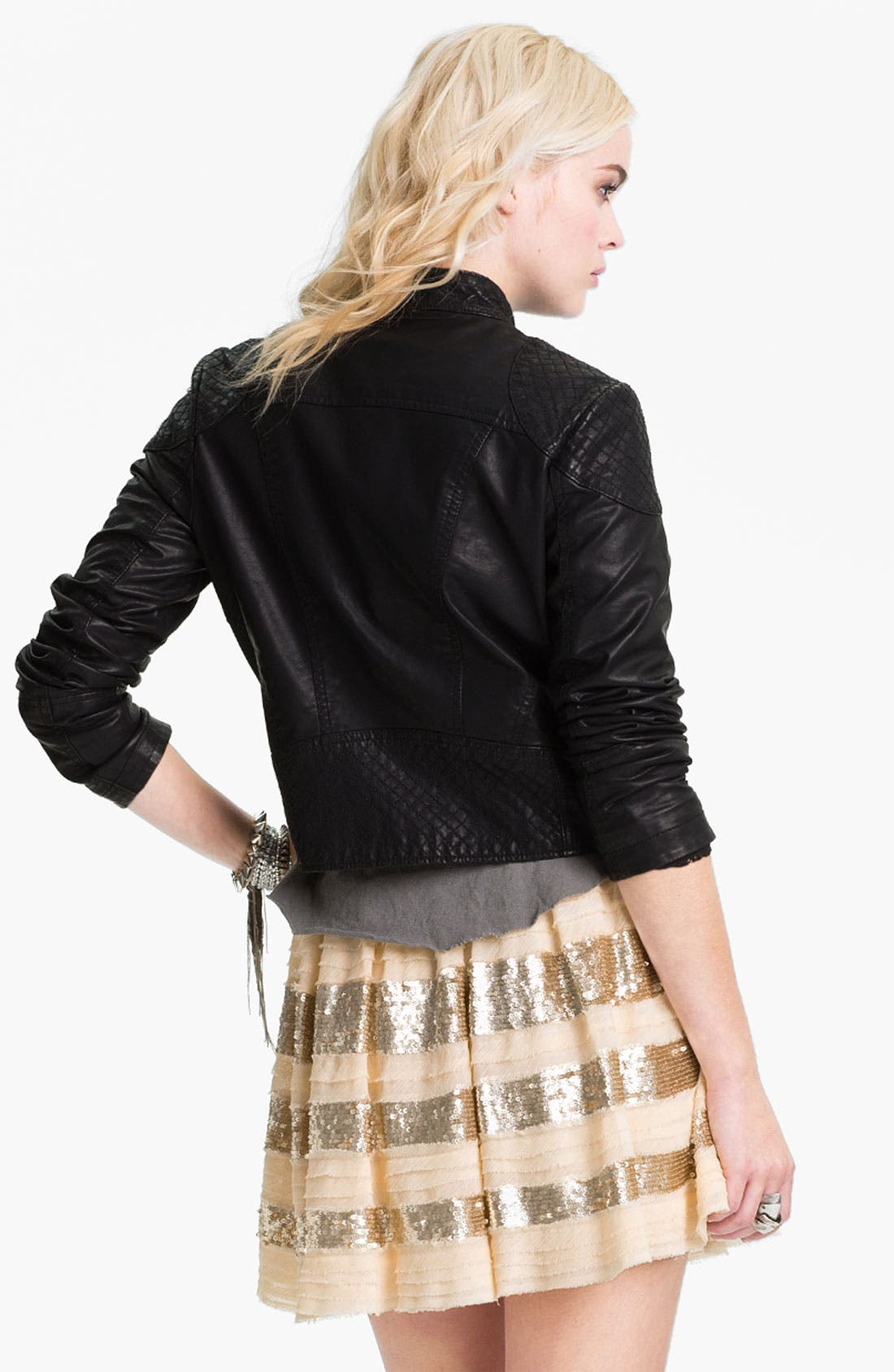 Alternate Image 2  - Free People 'Sunburst' Faux Leather Moto Jacket
