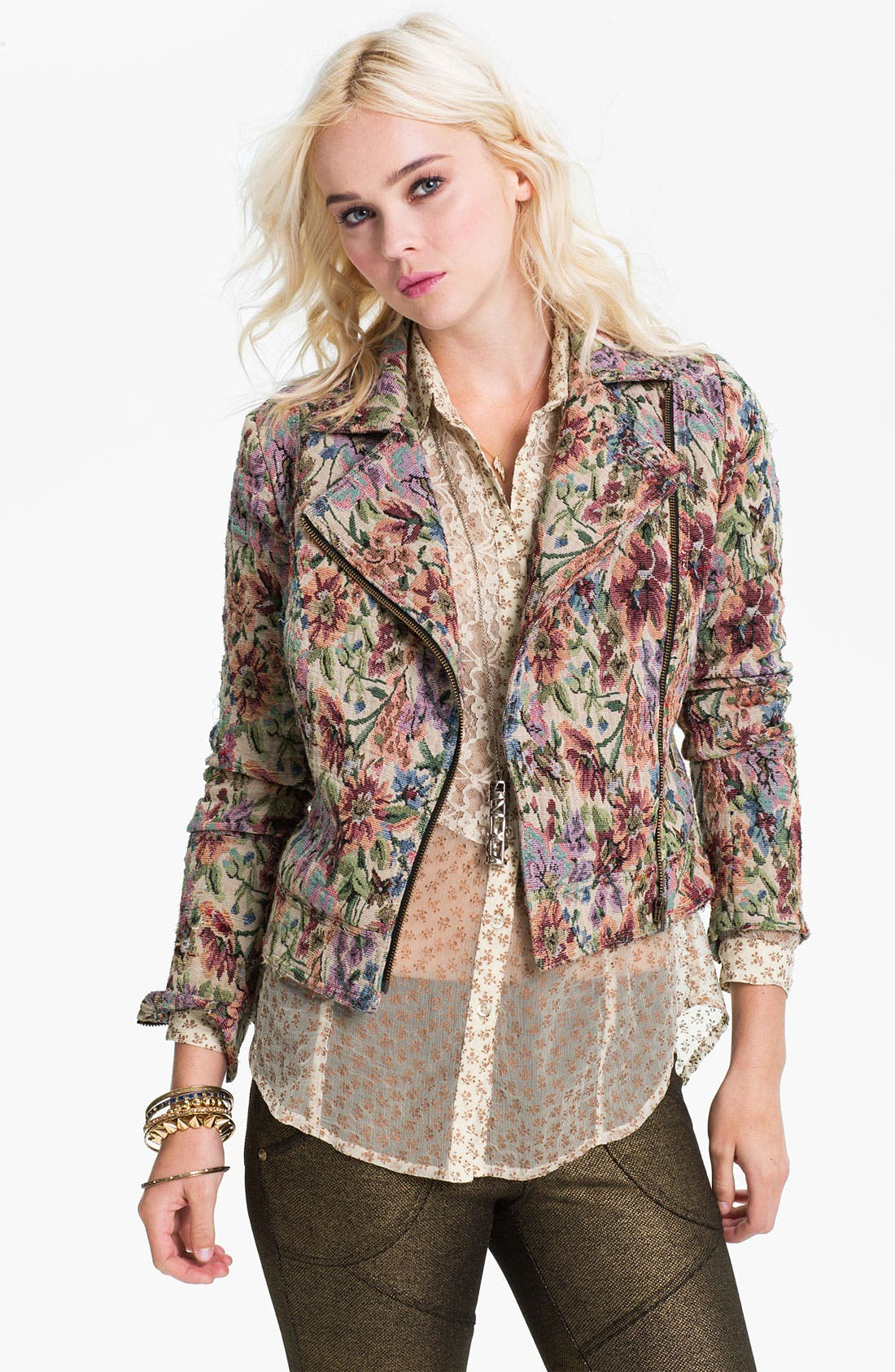 Alternate Image 1 Selected - Free People Floral Tapestry Moto Jacket