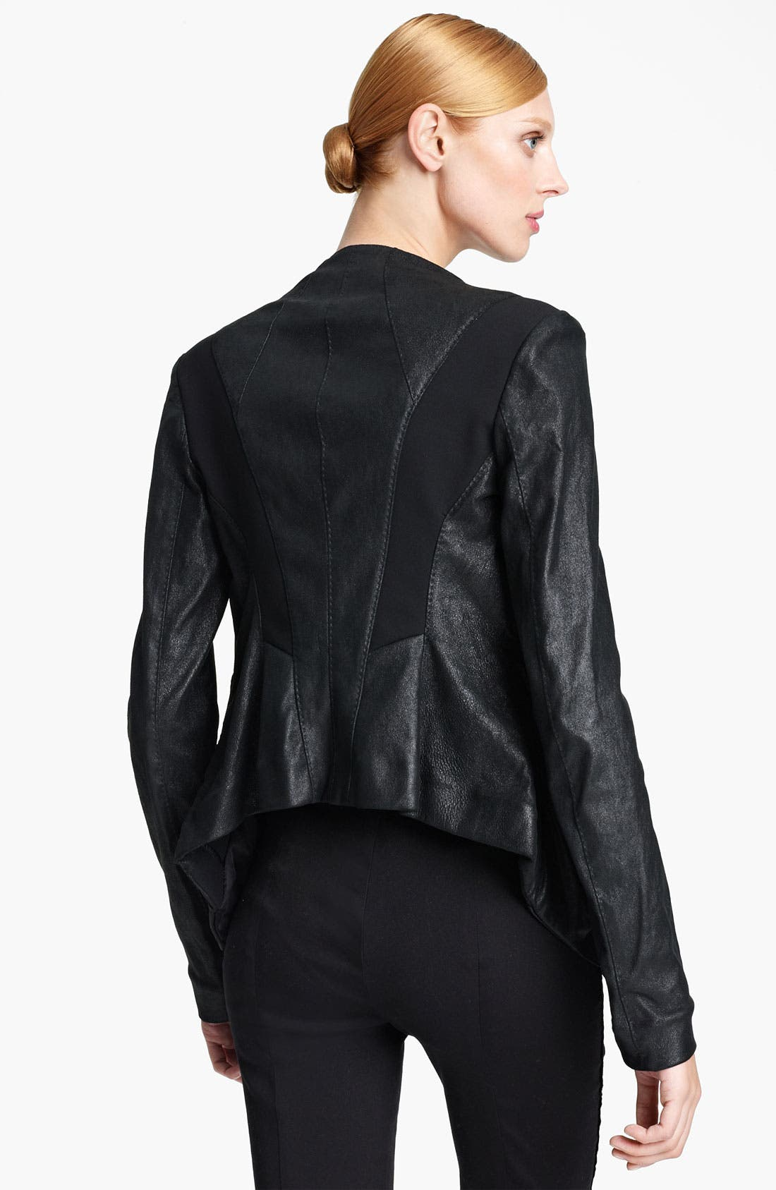Alternate Image 2  - Donna Karan Collection Draped Stretch Leather Jacket