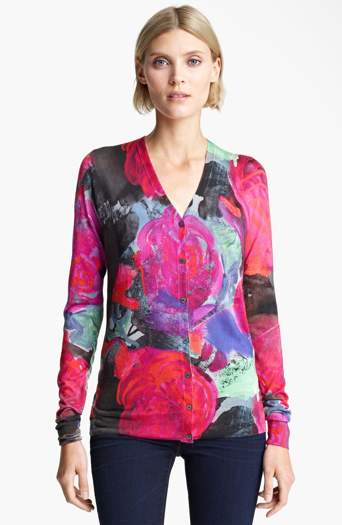 Main Image - Christopher Kane Floral Print Silk Cardigan
