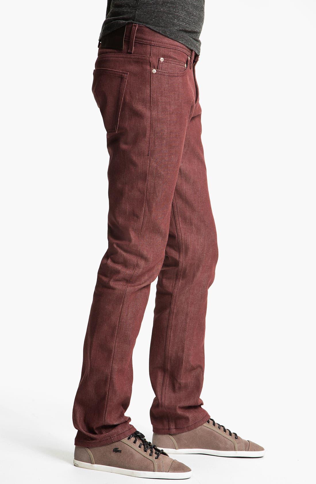 Alternate Image 3  - Naked & Famous Denim 'Weird Guy' Slim Tapered Leg Selvedge Jeans (Pomegranate Red)
