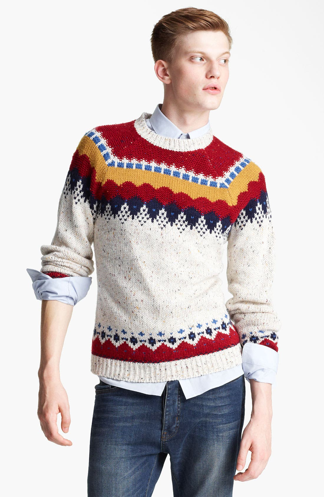 Alternate Image 1 Selected - Topman Yoke Pattern Crewneck Sweater