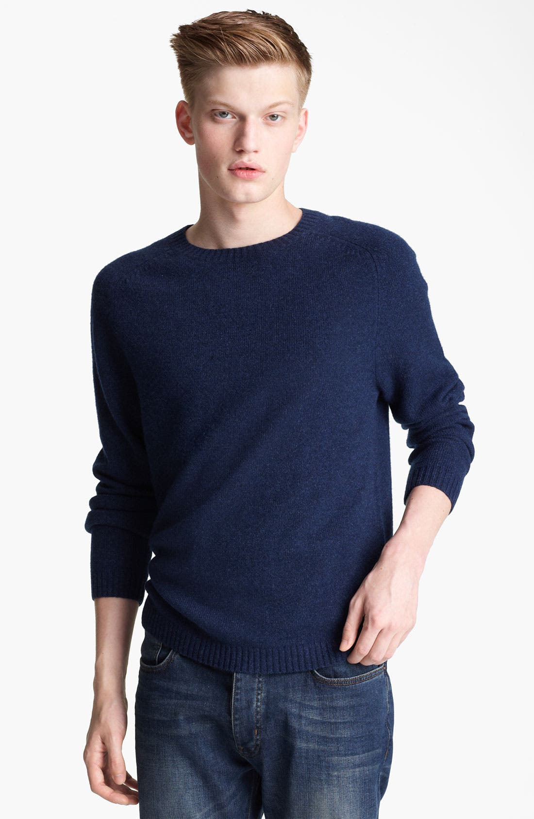 Main Image - Topman Lambswool Blend Sweater with Elbow Patches