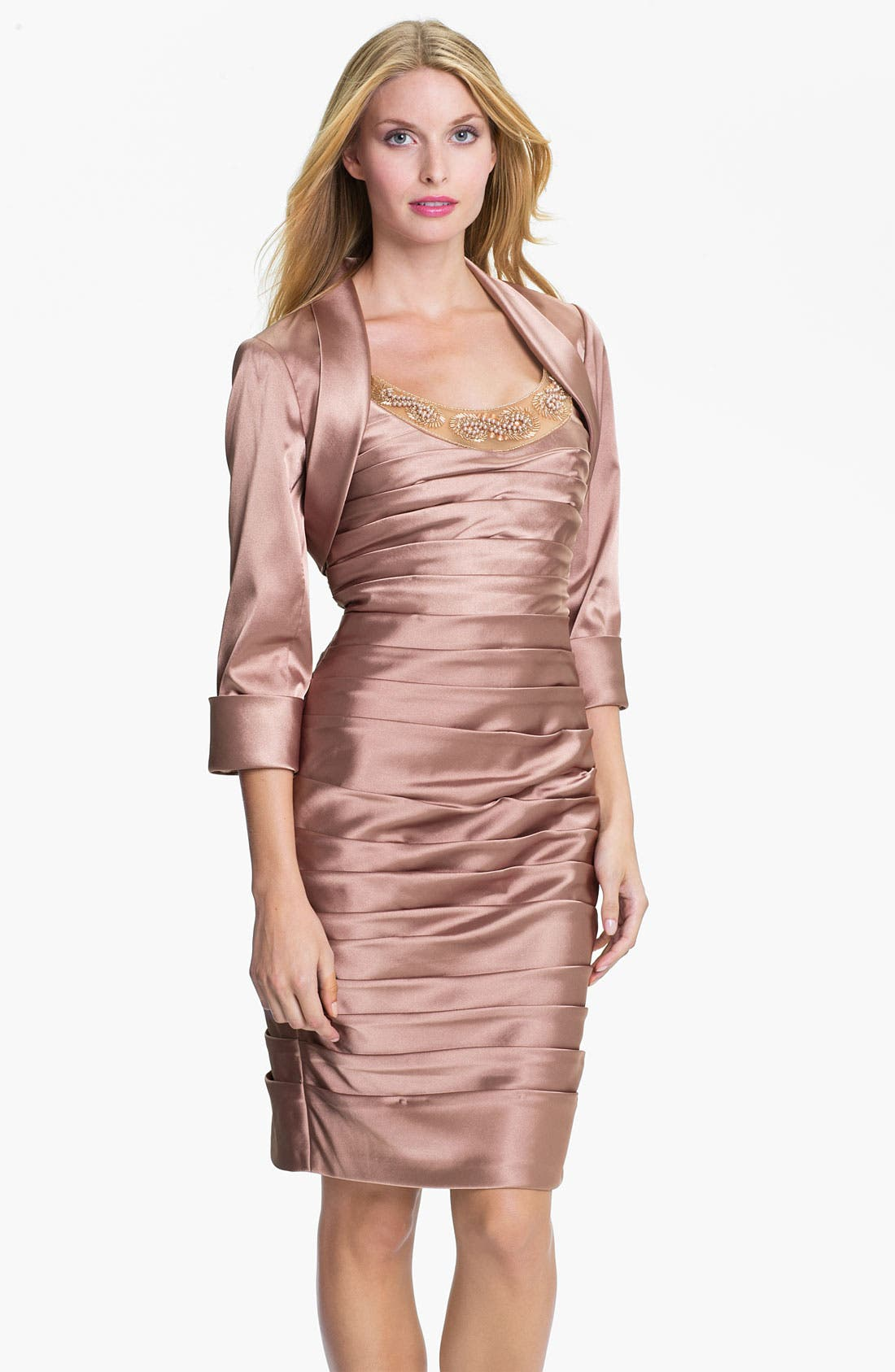 Alternate Image 1 Selected - Adrianna Papell Reverse Pleat Satin Sheath Dress & Cuffed Bolero