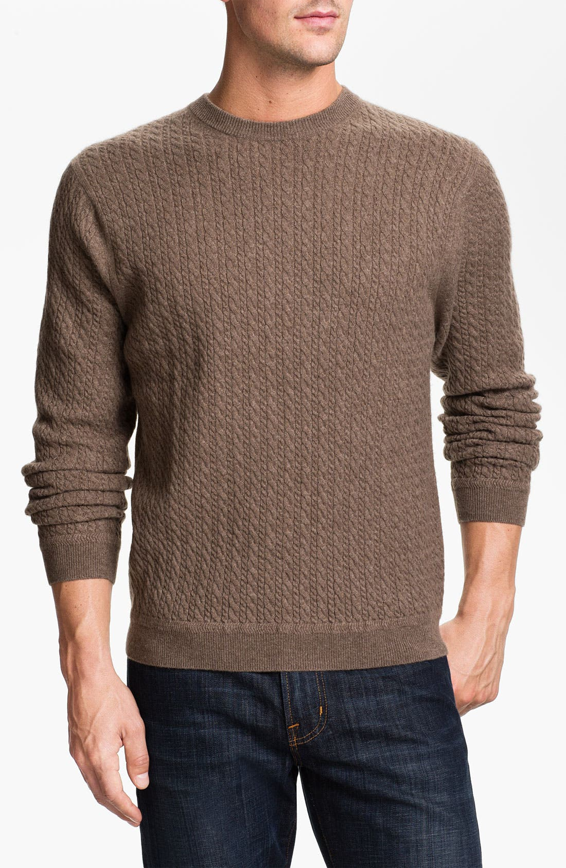 Alternate Image 1 Selected - John W. Nordstrom® Cable Knit Cashmere Sweater