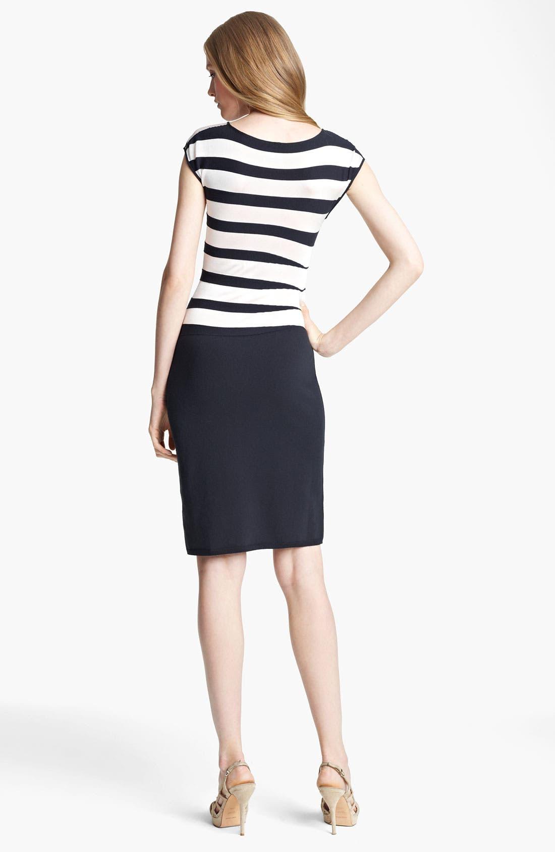 Alternate Image 2  - Armani Collezioni Asymmetrical Stripe Dress