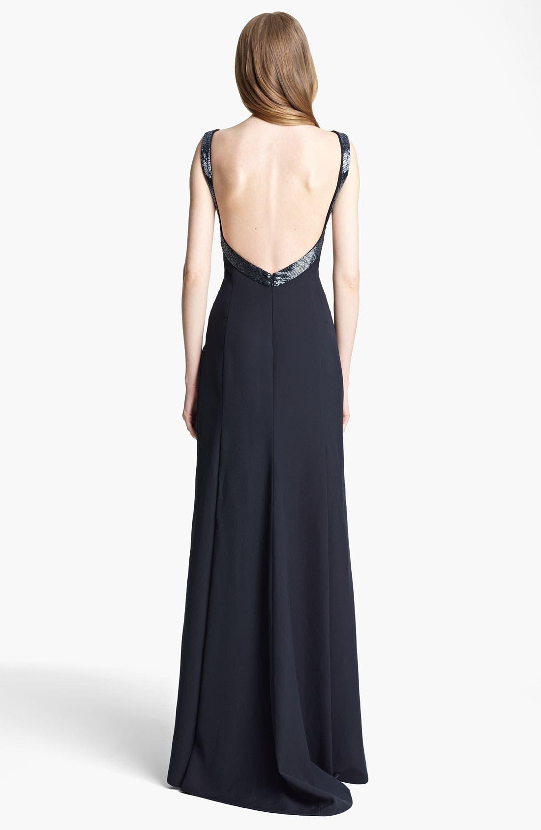 Alternate Image 2  - Armani Collezioni Beaded Strap Cady Gown