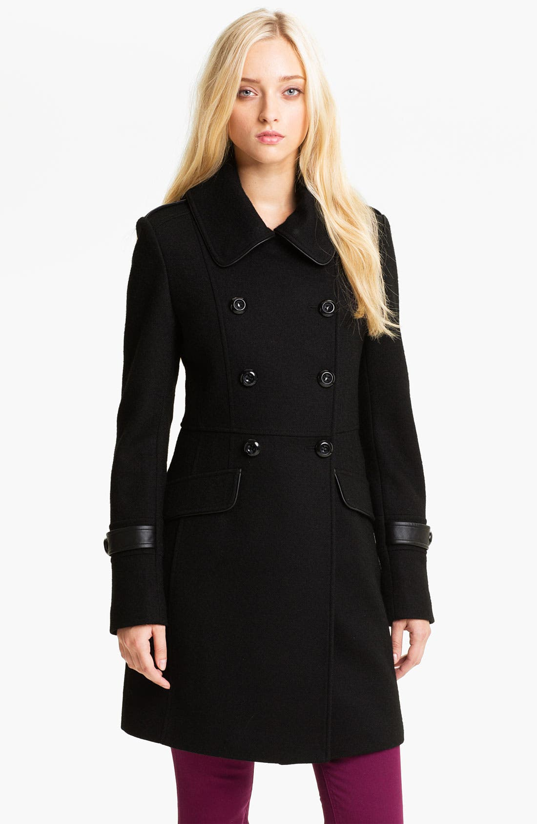 Main Image - Kristen Blake Leather Trim Coat
