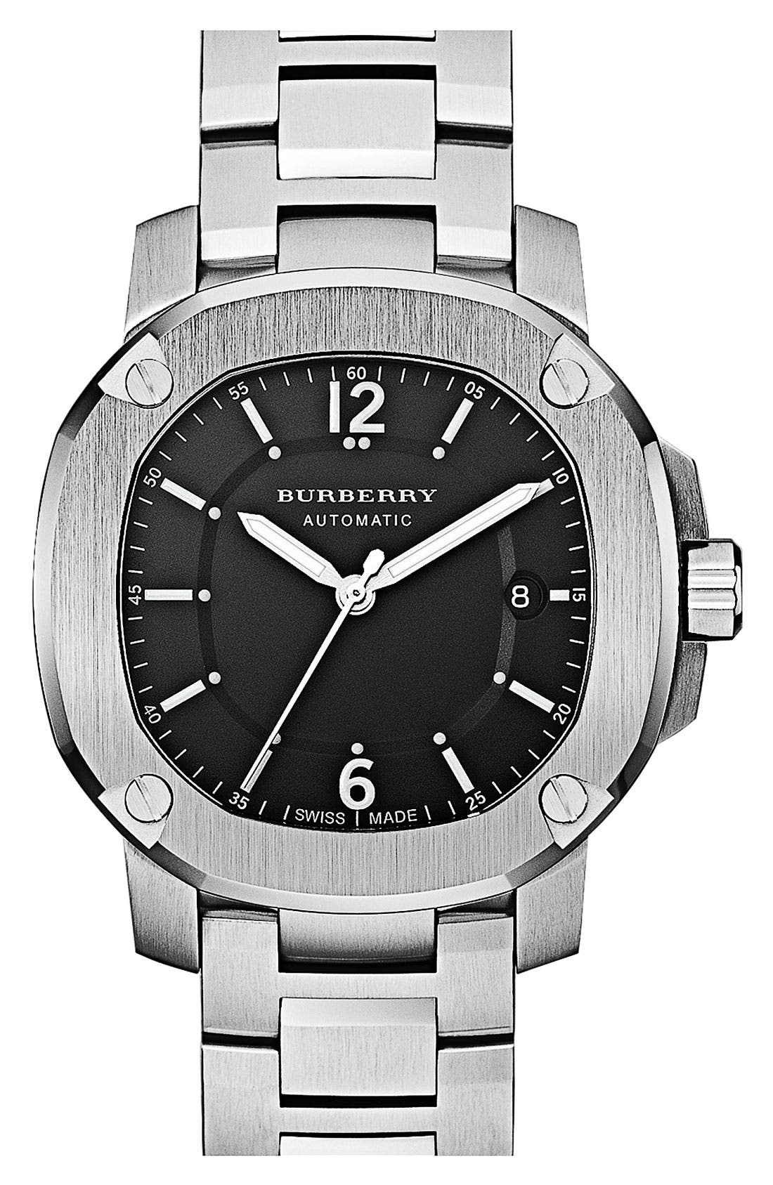 Main Image - Burberry The Britain Automatic Bracelet Watch, 43mm