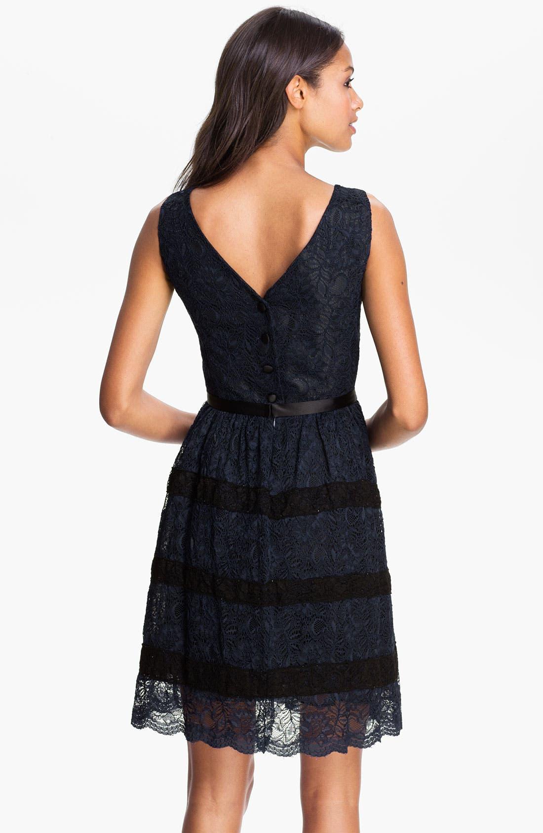 Alternate Image 2  - Taylor Dresses Button Back Lace Fit & Flare Dress