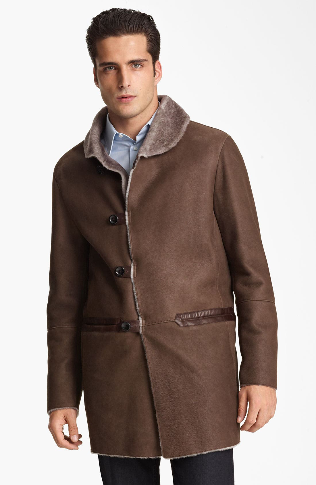 Alternate Image 1 Selected - Armani Collezioni Calfskin Car Coat