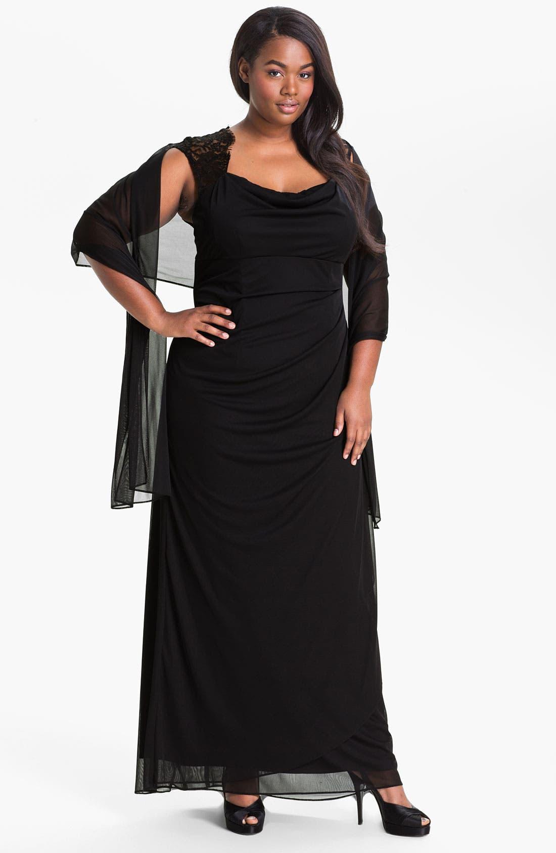 Main Image - Xscape Lace Shoulder Gown (Plus Size) (Online Only)