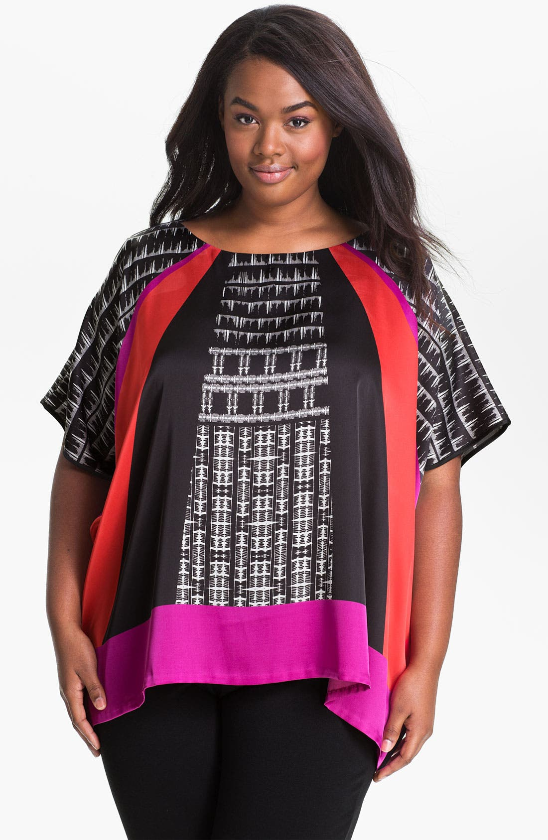 Alternate Image 1 Selected - Vince Camuto 'Empire' Geometric Blouse (Plus)