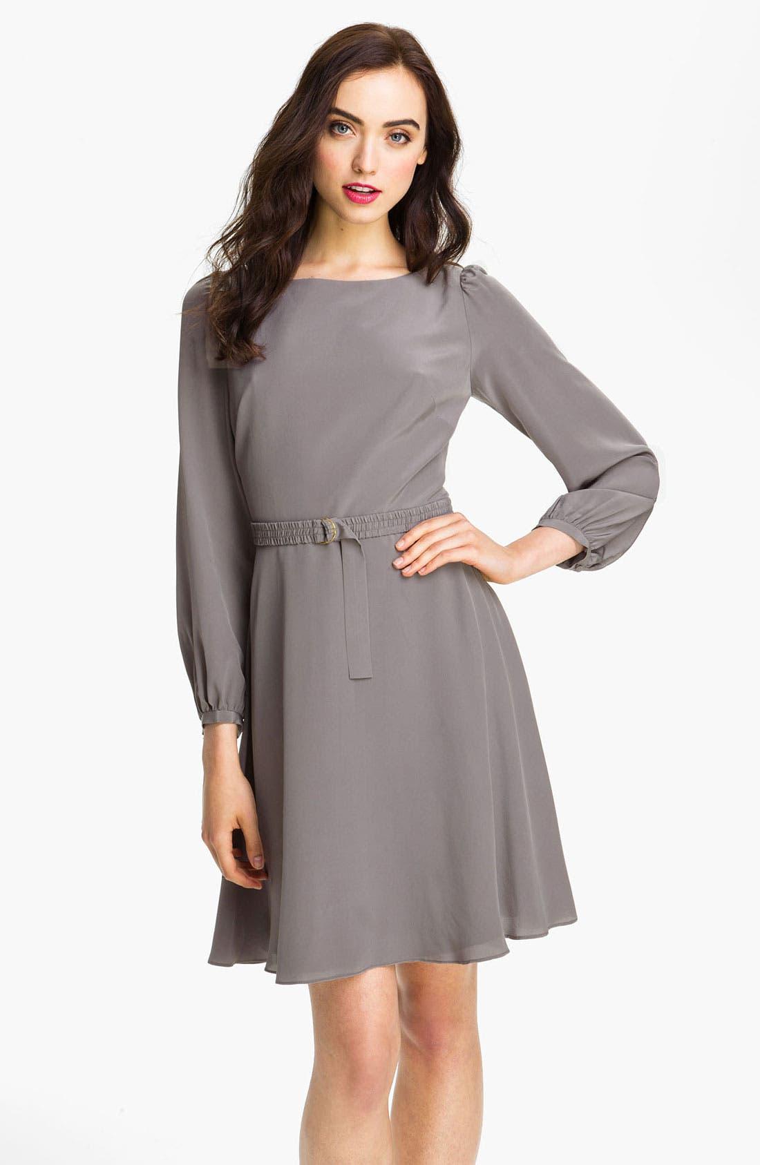 Alternate Image 1 Selected - Eliza J Blouson Sleeve Silk Day Dress
