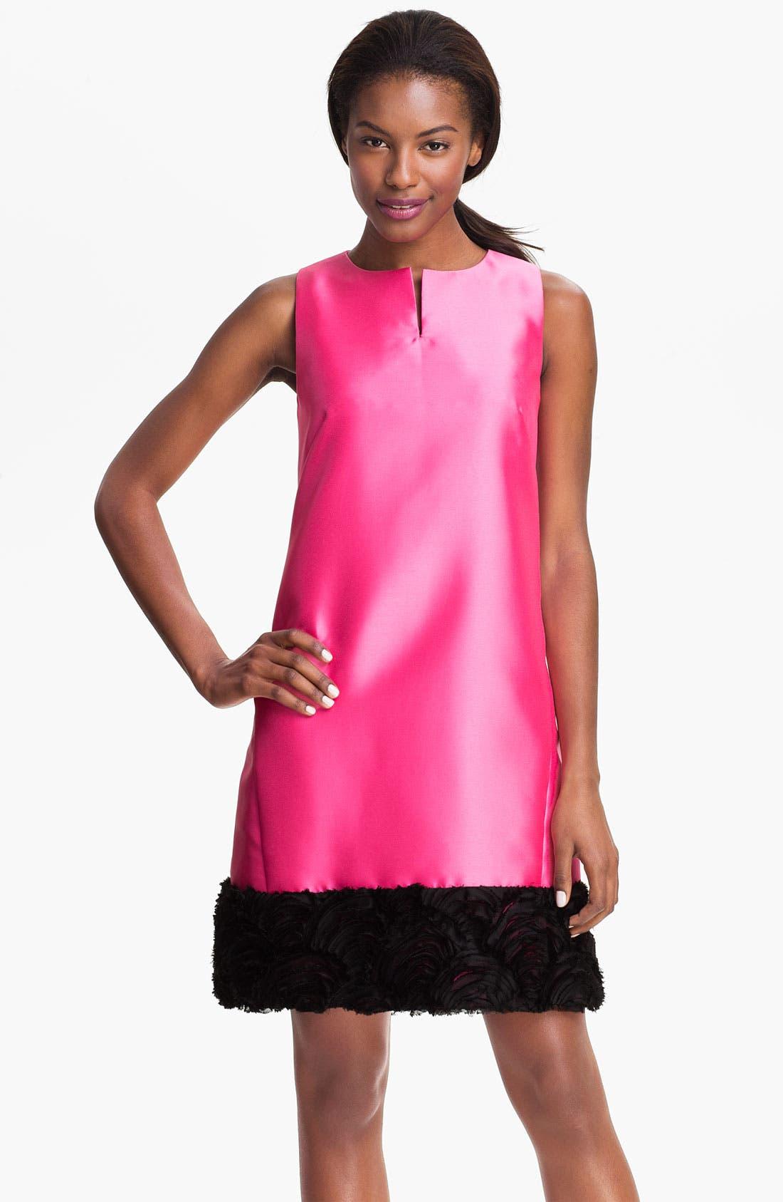 Main Image - Tahari Raw Edge Hem Woven Shift Dress
